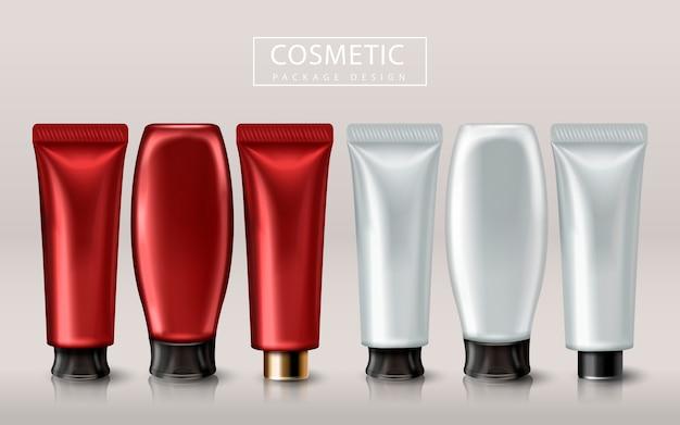 Tubos cosméticos em branco e vermelhos, ilustração 3d branca isolada