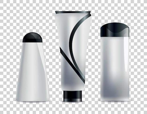 Tubos cosméticos em branco realistas. conjunto de embalagens sem marca para cosméticos corporais.