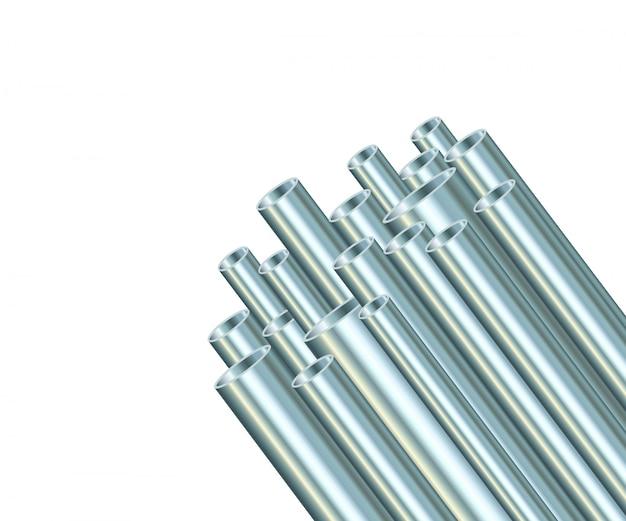 Tubos de aço em um fundo branco. tubo de metal industrial.