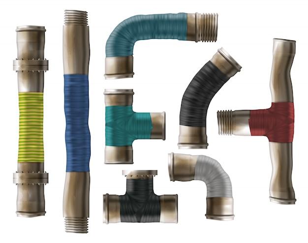 Tubos de água laminados reparação tipo realista vector