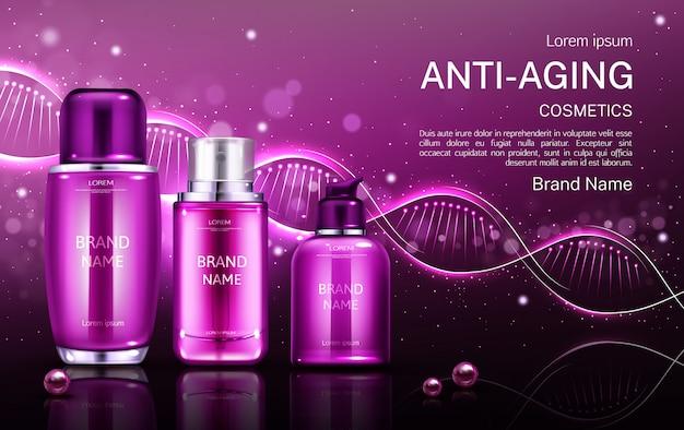 Tubos de cosméticos antienvelhecimento e frasco de creme