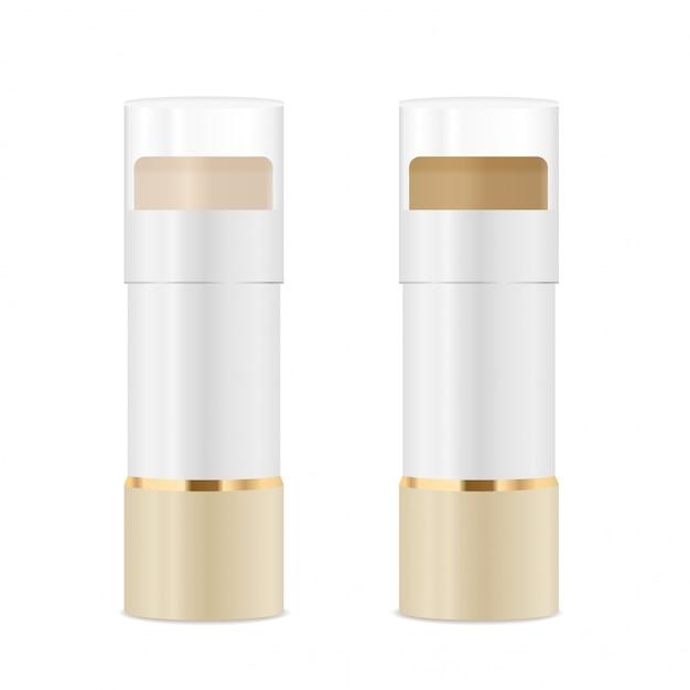 Tubos de cosméticos com corretivo. cores ouro e branco