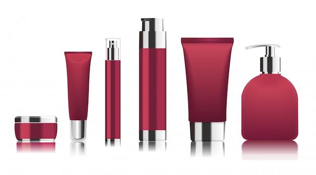 Tubos de cosméticos vermelhos com tampas de prata.