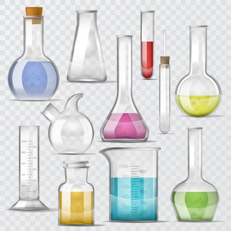 Tubos de ensaio de vidro químico vetorial para tubos de ensaio, cheios de líquido para pesquisas científicas