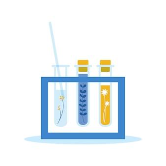 Tubos de ensaio planos com extratos naturais para medicamentos