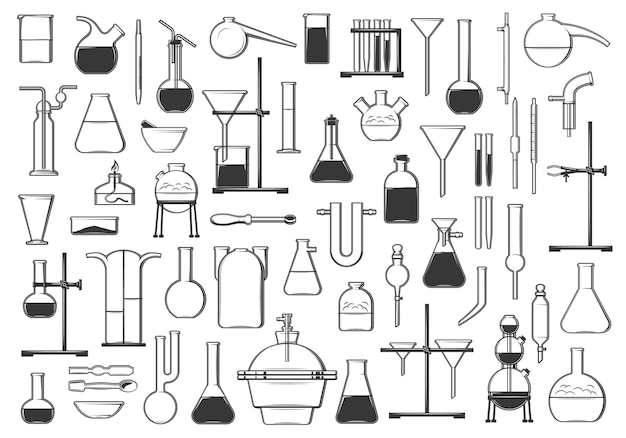 Tubos de ensaio químico, frascos, retorta e ferramentas. equipamento de laboratório de química, biologia ou farmácia e conjunto de ícones de vetor de vidraria. queimador de álcool, funil e separadores, condensador, pinças e pipetas