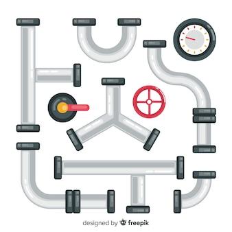 Tubos de metal com medidor definido em design plano