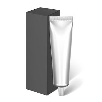 Tubos e pacote realísticos pretos de embalagem para cosméticos. pasta de dente em branco