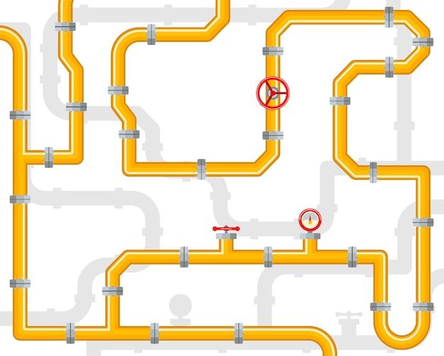 Tubos e válvulas. modelo de infográfico de gasoduto.