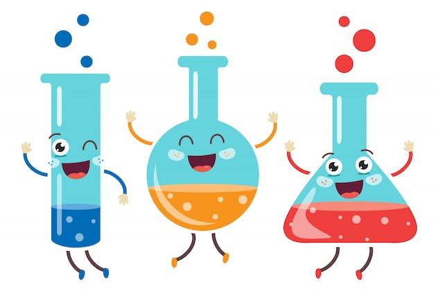 Tubos pequenos fazendo experimentos químicos