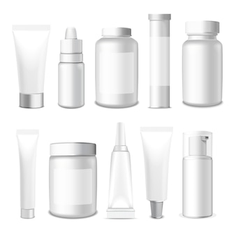 Tubos realistas, frasco e pacote. embalagem branco cosméticos e medicamentos isolados