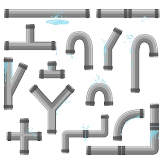 Tubulação com vazamento de água. tubos quebrados com vazamento, ruptura de tubulação plástica. coleção de tubo de água, vazamento, tubulação de plástico, válvula de vazamento, gotejamento. tecnologia industrial.