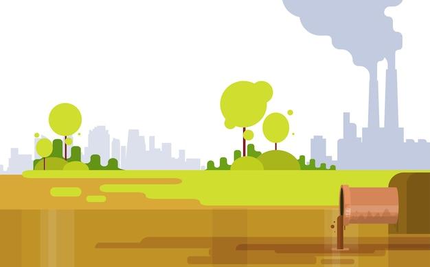 Tubulação da planta da poluição da natureza