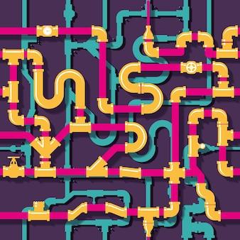Tubulação de água. pipeline e tubo, ilustração de construção industrial