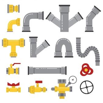 Tubulações de água, conectores, válvulas, acessórios e outros elementos isolados no branco