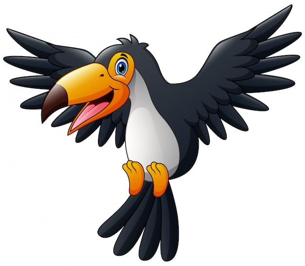 Tucano de pássaro feliz dos desenhos animados voando