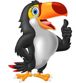 Tucano dos desenhos animados dá o polegar para cima