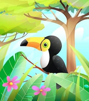 Tucano fofo na natureza verde com árvores e fundo de floresta tropical pássaro tucano colorido para crianças