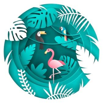 Tucano, papagaio e flamigo pássaro na floresta tropical.