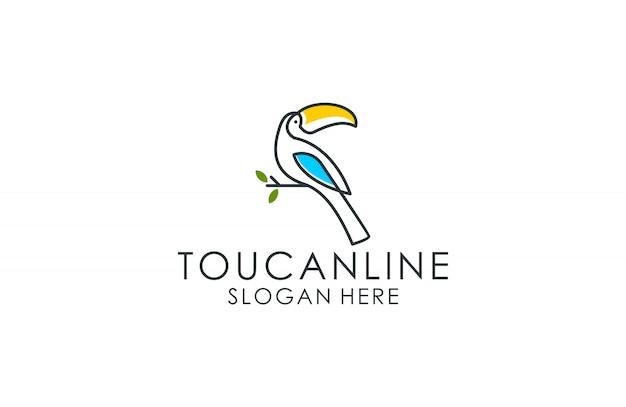 Tucano pássaro logotipo linha artística