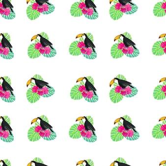 Tucano pássaro tropical monstera folhas padrão sem emenda com tucanos folhas exóticas e flores