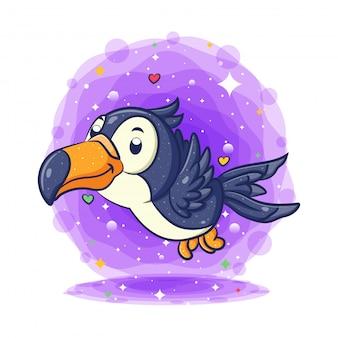 Tucano pássaro voando e sorrindo personagem de desenho animado