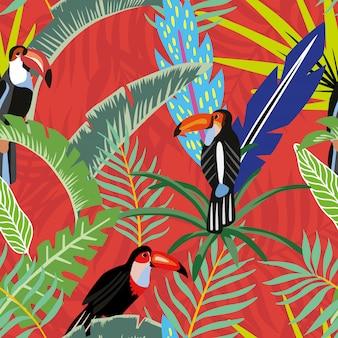 Tucanos folhas de palmeira cartoon estilo vermelho laranja sem costura padrão papel de parede