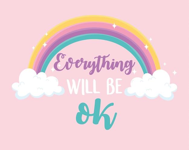 Tudo ficará bem arco-íris, mensagem positiva fundo rosa
