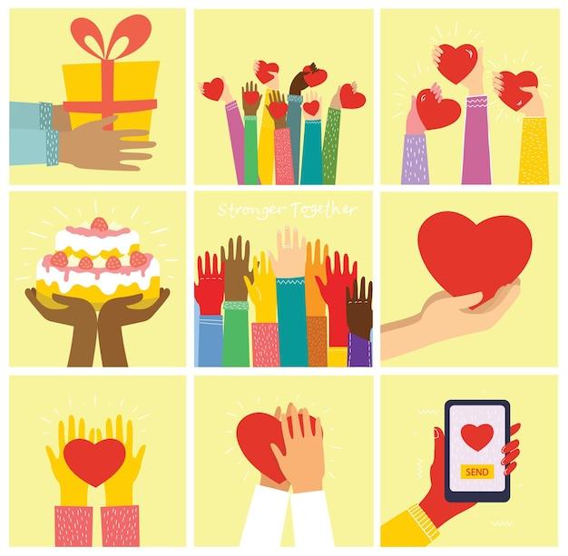 Tudo o que você precisa é amor. mãos e pessoas com corações como massagens de amor. cartões de ilustração dos namorados de casais felizes apaixonados em estilo simples