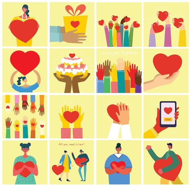 Tudo o que você precisa é amor. mãos e pessoas com corações como massagens de amor.