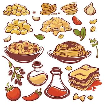 Tudo para o seu macarrão, coleção de ingredientes do vetor