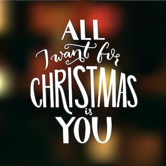 Tudo que eu quero no natal é você. cartão com citações românticas.