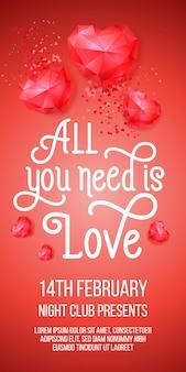 Tudo que você precisa é amor letras com corações de rubi