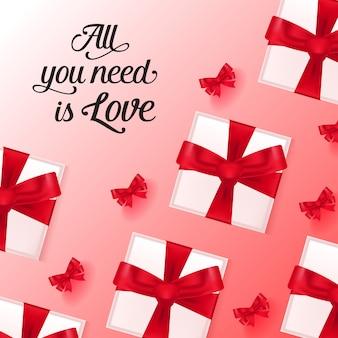 Tudo que você precisa é amor lettering com caixas de presente