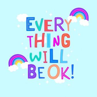 Tudo vai ficar bem letras com arco-íris Vetor grátis