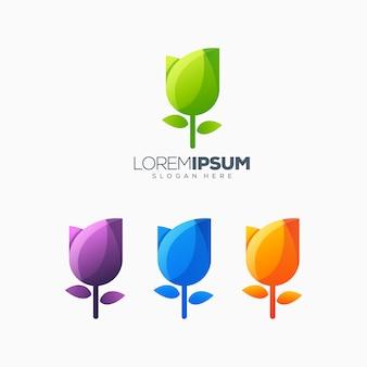 Tulipa colorida logo design ilustração vetorial