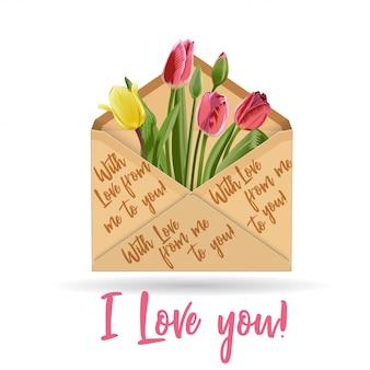 Tulipa de envelope de papel kraft
