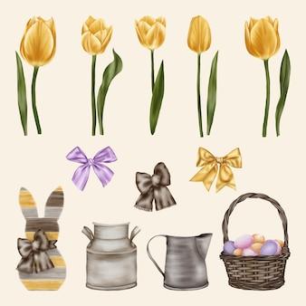 Tulipas amarelas com arcos, coelho da páscoa e cesta com ovos