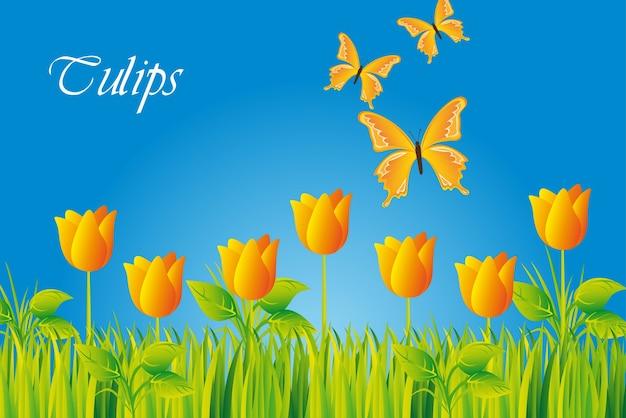 Tulipas amarelas com borboleta sobre o céu