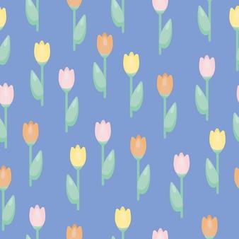 Tulipas de padrão sem emenda do vetor. textura de decoração floral botânica. fundo de papel de parede