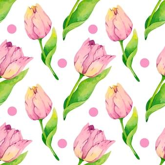 Tulipas em aquarela com padrão de design de papel digital com pontos rosa