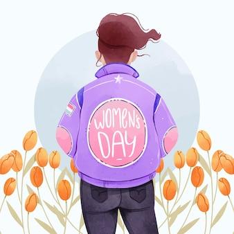 Tulipas em aquarela para o dia internacional da mulher
