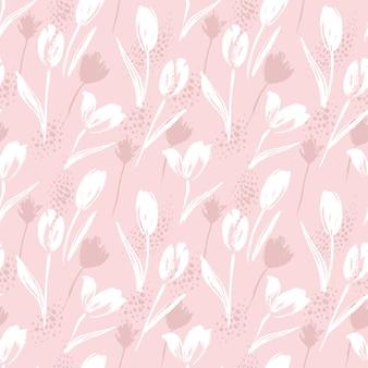 Tulipas padrão sem emenda floral abstrato. texturas desenhadas à mão na moda.