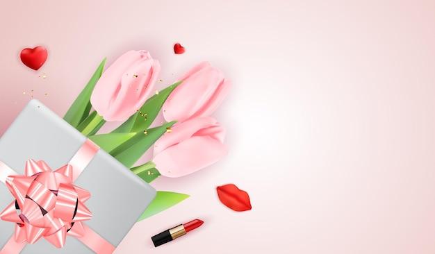 Tulipas rosa e caixa de presente, vista superior