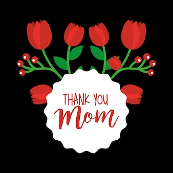 Tulipas vermelhas agradecem ao cartão da mãe