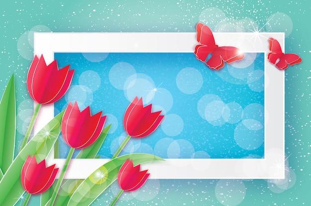 Tulipas vermelhas e borboleta. dia da mulher.