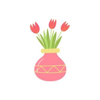 Tulipas vermelhas em um vaso, um buquê de flores desabrochando para decoração de interiores