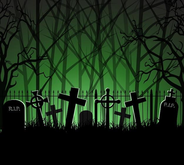 Tumba do cemitério do cemitério na floresta, plano de fundo do dia das bruxas, ilustração vetorial