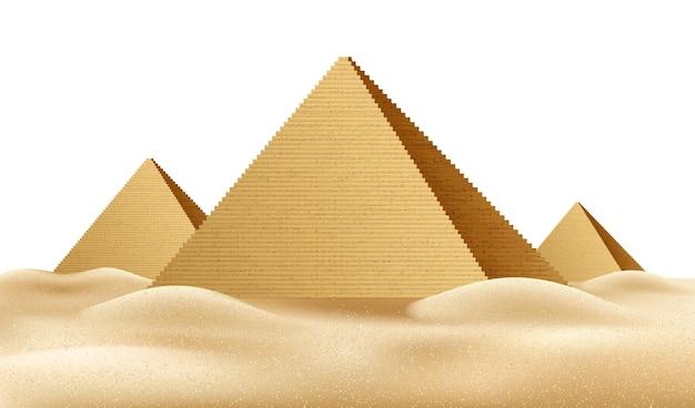 Tumba do faraó com pirâmides egípcias realistas
