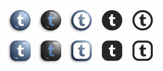 Tumblr moderno 3d e conjunto de ícones plana